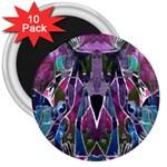 Sly Dog Modern Grunge Style Blue Pink Violet 3  Magnets (10 pack)  Front