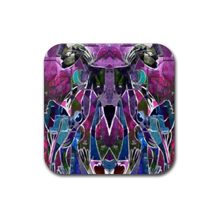 Sly Dog Modern Grunge Style Blue Pink Violet Rubber Coaster (Square)