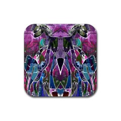 Sly Dog Modern Grunge Style Blue Pink Violet Rubber Square Coaster (4 pack)