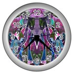 Sly Dog Modern Grunge Style Blue Pink Violet Wall Clocks (Silver)  Front