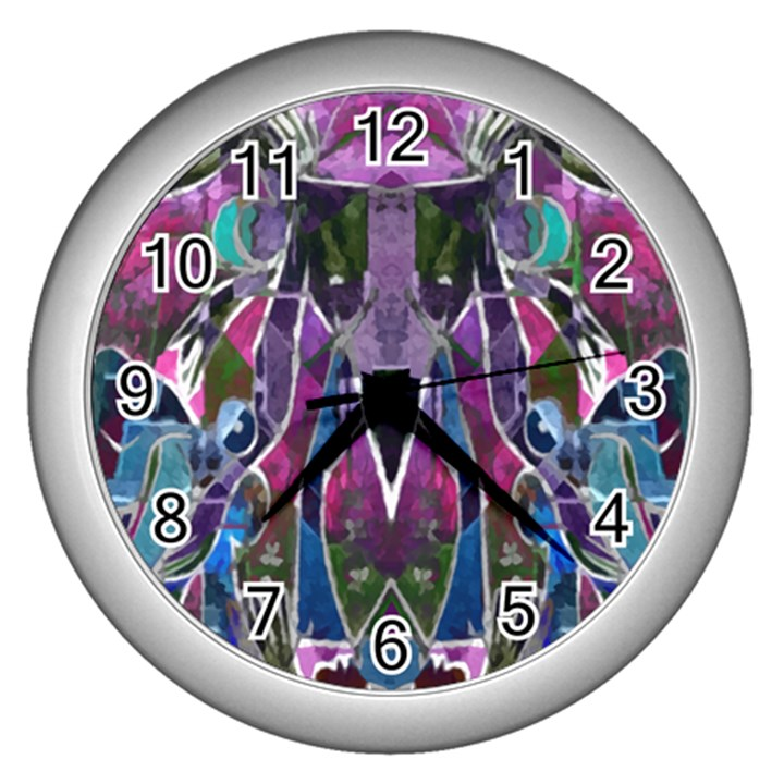 Sly Dog Modern Grunge Style Blue Pink Violet Wall Clocks (Silver)