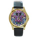 Sly Dog Modern Grunge Style Blue Pink Violet Round Gold Metal Watch Front