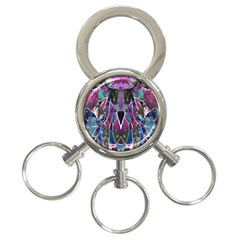 Sly Dog Modern Grunge Style Blue Pink Violet 3-Ring Key Chains