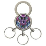 Sly Dog Modern Grunge Style Blue Pink Violet 3-Ring Key Chains Front