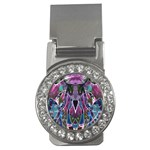 Sly Dog Modern Grunge Style Blue Pink Violet Money Clips (CZ)  Front