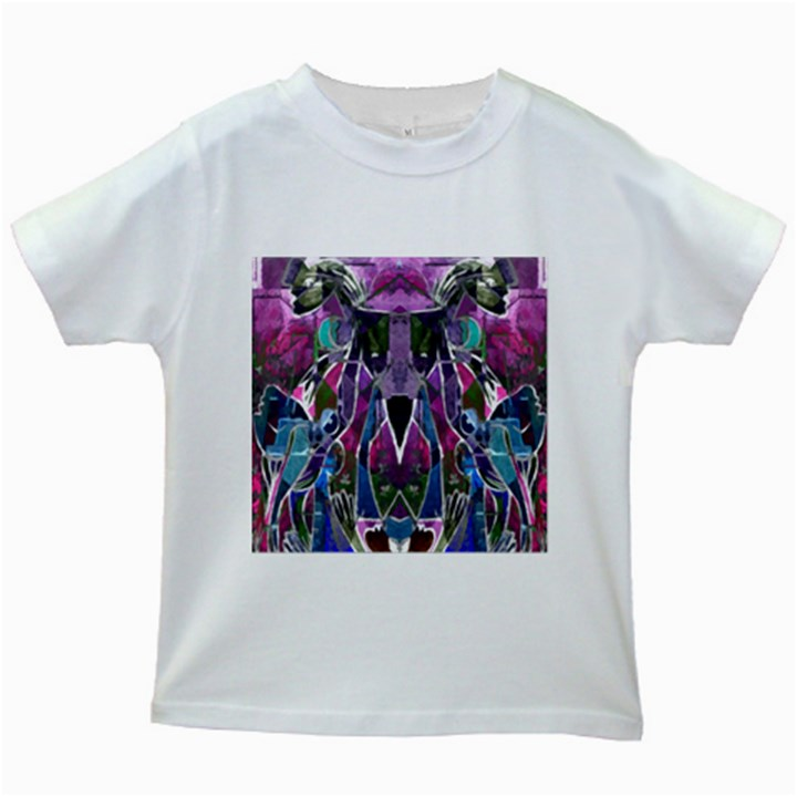Sly Dog Modern Grunge Style Blue Pink Violet Kids White T-Shirts