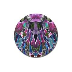 Sly Dog Modern Grunge Style Blue Pink Violet Magnet 3  (Round)