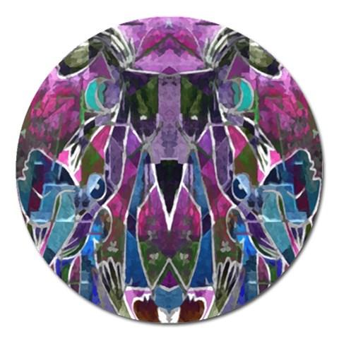 Sly Dog Modern Grunge Style Blue Pink Violet Magnet 5  (Round)