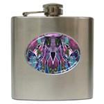 Sly Dog Modern Grunge Style Blue Pink Violet Hip Flask (6 oz) Front