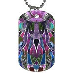 Sly Dog Modern Grunge Style Blue Pink Violet Dog Tag (Two Sides) Front