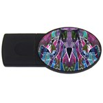 Sly Dog Modern Grunge Style Blue Pink Violet USB Flash Drive Oval (2 GB)  Front