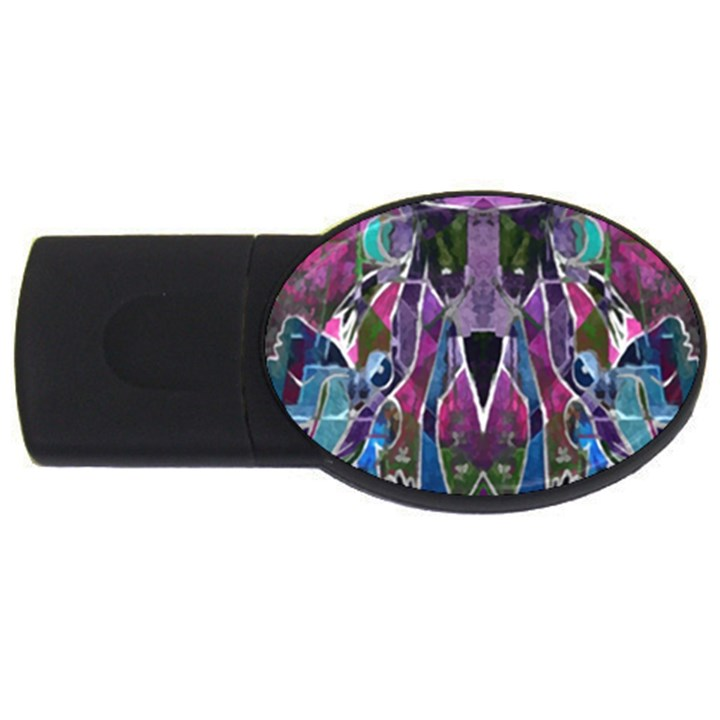 Sly Dog Modern Grunge Style Blue Pink Violet USB Flash Drive Oval (2 GB)