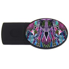 Sly Dog Modern Grunge Style Blue Pink Violet USB Flash Drive Oval (1 GB)