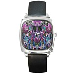 Sly Dog Modern Grunge Style Blue Pink Violet Square Metal Watch Front