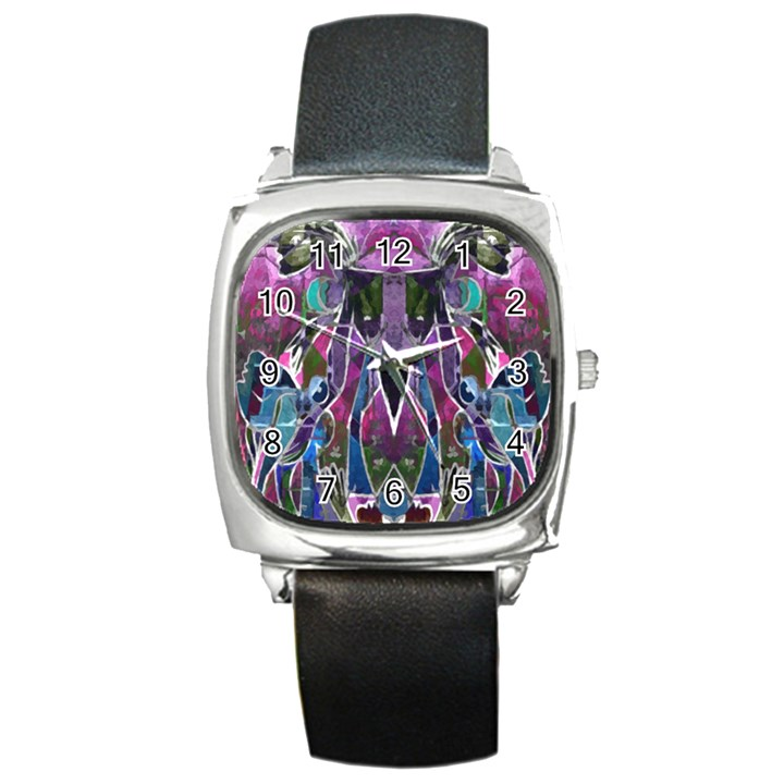 Sly Dog Modern Grunge Style Blue Pink Violet Square Metal Watch