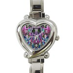 Sly Dog Modern Grunge Style Blue Pink Violet Heart Italian Charm Watch Front