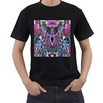 Sly Dog Modern Grunge Style Blue Pink Violet Men s T-Shirt (Black) (Two Sided) Front