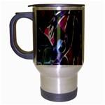 Sly Dog Modern Grunge Style Blue Pink Violet Travel Mug (Silver Gray) Left
