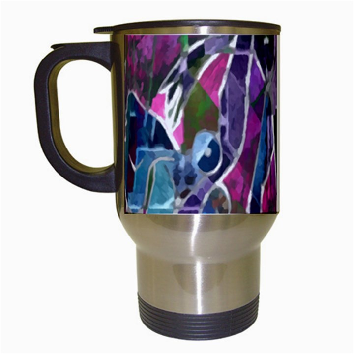Sly Dog Modern Grunge Style Blue Pink Violet Travel Mugs (White)
