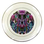Sly Dog Modern Grunge Style Blue Pink Violet Porcelain Plates Front