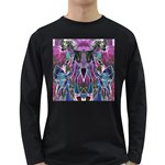 Sly Dog Modern Grunge Style Blue Pink Violet Long Sleeve Dark T-Shirts Front