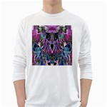 Sly Dog Modern Grunge Style Blue Pink Violet White Long Sleeve T-Shirts Front