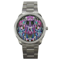 Sly Dog Modern Grunge Style Blue Pink Violet Sport Metal Watch