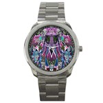 Sly Dog Modern Grunge Style Blue Pink Violet Sport Metal Watch Front