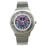 Sly Dog Modern Grunge Style Blue Pink Violet Stainless Steel Watch Front