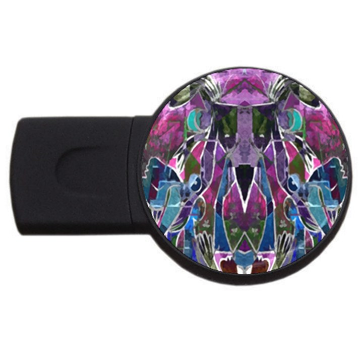 Sly Dog Modern Grunge Style Blue Pink Violet USB Flash Drive Round (4 GB)