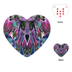 Sly Dog Modern Grunge Style Blue Pink Violet Playing Cards (Heart)