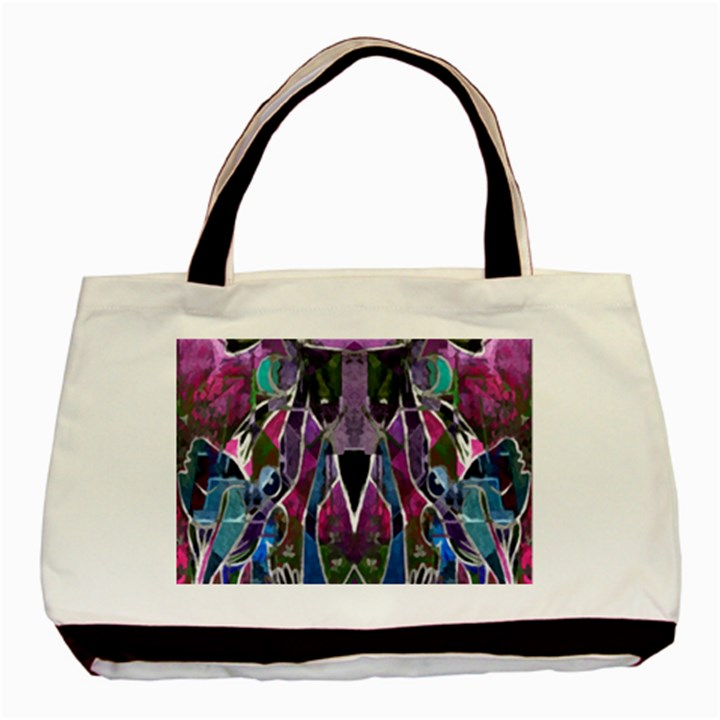 Sly Dog Modern Grunge Style Blue Pink Violet Basic Tote Bag