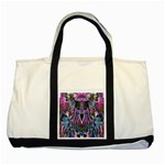 Sly Dog Modern Grunge Style Blue Pink Violet Two Tone Tote Bag Front