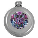 Sly Dog Modern Grunge Style Blue Pink Violet Round Hip Flask (5 oz) Front