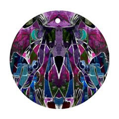 Sly Dog Modern Grunge Style Blue Pink Violet Round Ornament (Two Sides)