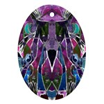 Sly Dog Modern Grunge Style Blue Pink Violet Oval Ornament (Two Sides) Back