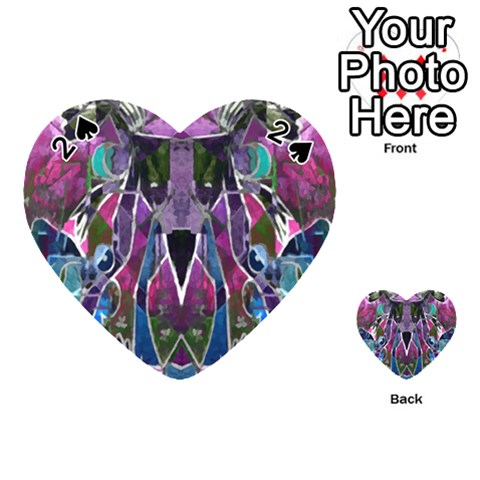 Sly Dog Modern Grunge Style Blue Pink Violet Playing Cards 54 (Heart)