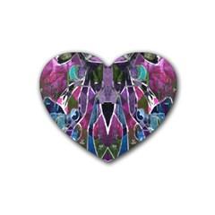 Sly Dog Modern Grunge Style Blue Pink Violet Rubber Coaster (Heart)