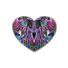 Sly Dog Modern Grunge Style Blue Pink Violet Heart Coaster (4 pack)