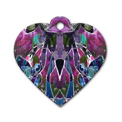 Sly Dog Modern Grunge Style Blue Pink Violet Dog Tag Heart (One Side)