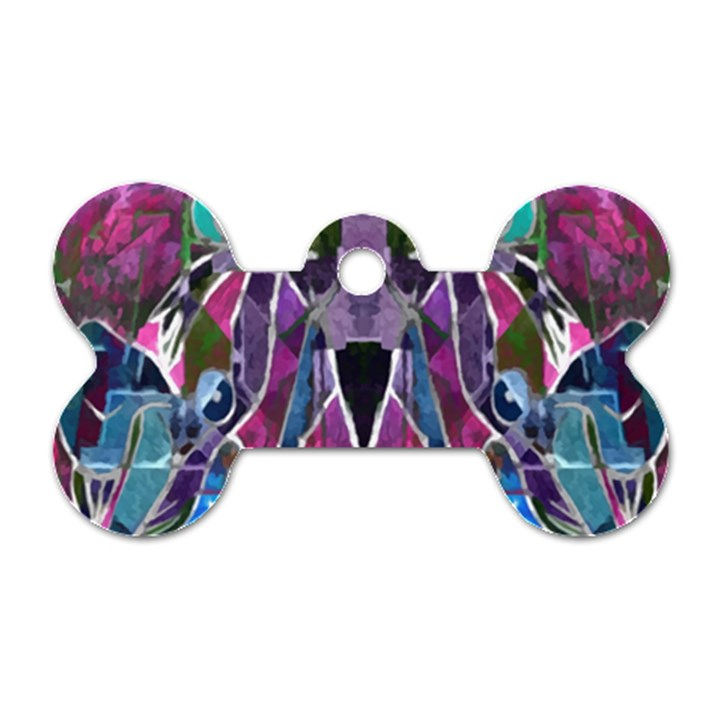Sly Dog Modern Grunge Style Blue Pink Violet Dog Tag Bone (Two Sides)
