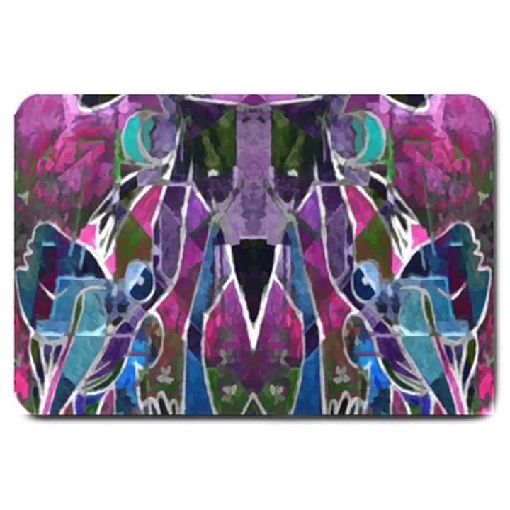 Sly Dog Modern Grunge Style Blue Pink Violet Large Doormat