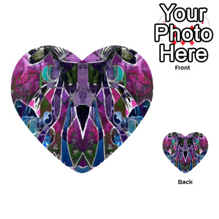 Sly Dog Modern Grunge Style Blue Pink Violet Multi-purpose Cards (Heart)