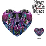 Sly Dog Modern Grunge Style Blue Pink Violet Multi-purpose Cards (Heart)  Back 18