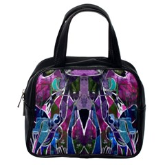 Sly Dog Modern Grunge Style Blue Pink Violet Classic Handbags (One Side)