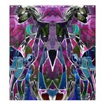 Sly Dog Modern Grunge Style Blue Pink Violet Shower Curtain 66  x 72  (Large)  58.75 x64.8 Curtain