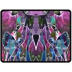 Sly Dog Modern Grunge Style Blue Pink Violet Fleece Blanket (Large)  80 x60 Blanket Front
