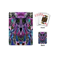 Sly Dog Modern Grunge Style Blue Pink Violet Playing Cards (mini)