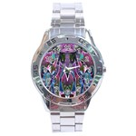 Sly Dog Modern Grunge Style Blue Pink Violet Stainless Steel Analogue Watch Front