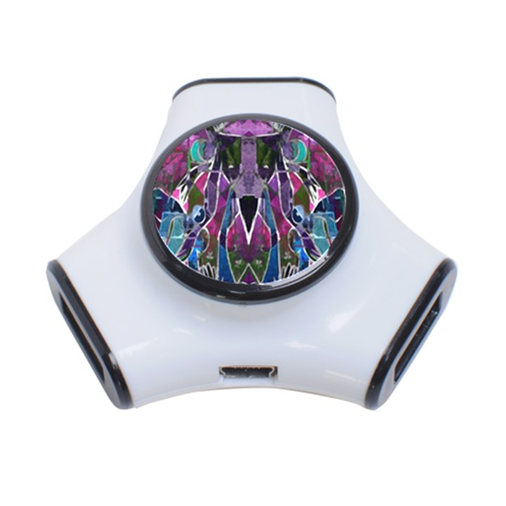 Sly Dog Modern Grunge Style Blue Pink Violet 3-Port USB Hub